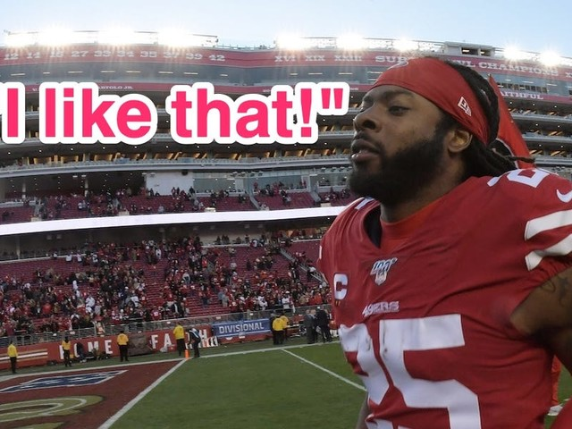 49ers' Richard Sherman appeared to mock Kirk Cousins' signature catchphrase after eliminating the Vikings from the playoffs