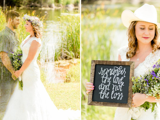 Grieving Bride Takes Photos In Wedding Dress After Fiance's Sudden Death