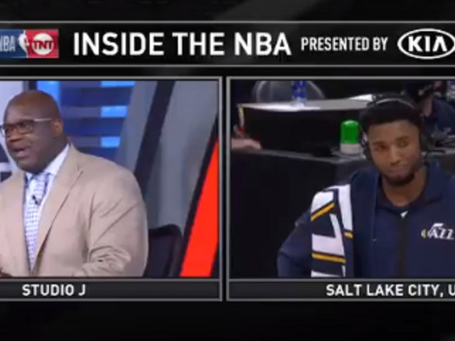 Shaq and Donovan Mitchell had the most awkward post-game exchange