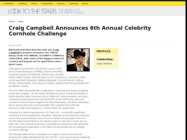 Craig Campbell Announces 6th Annual Celebrity Cornhole Challenge
