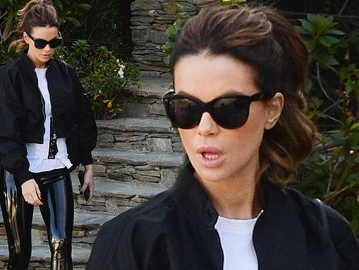 Kate Beckinsale dons PVC leggings for lunch outing at the Oscars Vanity Fair party