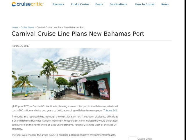 Carnival Cruise Line Plans New Bahamas Port
