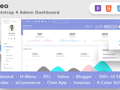 Oreo - The ultimate Bootstrap 4 Admin and WebApp Template (Admin ...