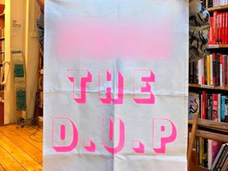 'F*** the DUP' tea towels on sale at English bookshop