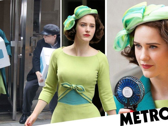 Rachel Brosnahan keeps her cool with hand fan as she films season three of The Marvelous Mrs. Maisel