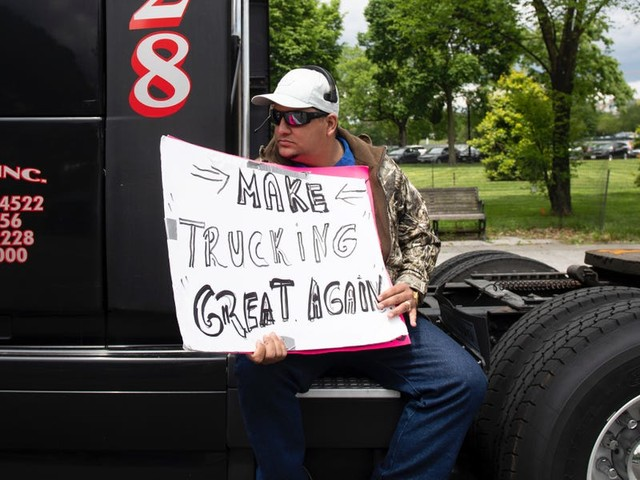 Angry truck drivers are slamming Trump for saying their protest on devastatingly low rates was a 'sign of love' for him