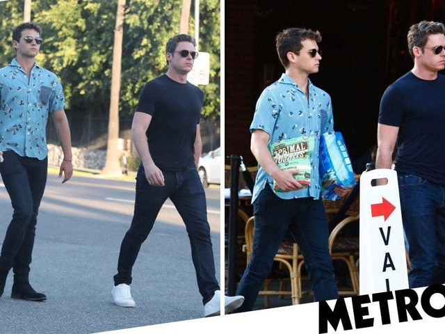Richard Madden and pal Brandon Flynn venture out on fashionable dog walk in LA