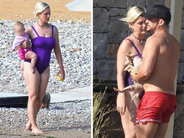 Katy Perry stuns in purple swimsuit as she hits the beach with fiancé Orlando Bloom and daughter Daisy in Greece