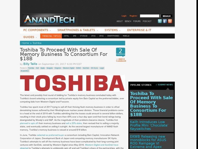 Toshiba To Proceed With Sale Of Memory Business To Consortium For $18B