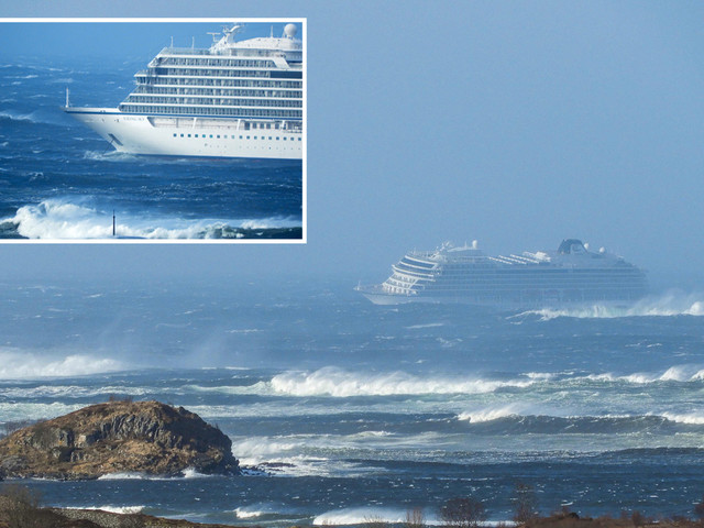 Helicopter rescue underway for 1,300 cruise passengers after ship's engine fails in storm off coast of Norway