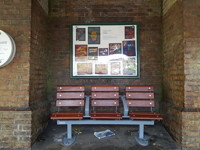 Student art goes on display in a train station