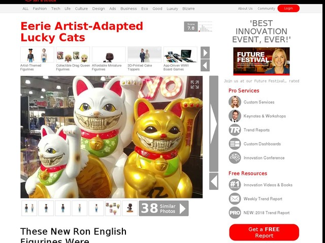 Eerie Artist-Adapted Lucky Cats - These New Ron English Figurines Were Debuted at the 2018 Toy Fair (TrendHunter.com)