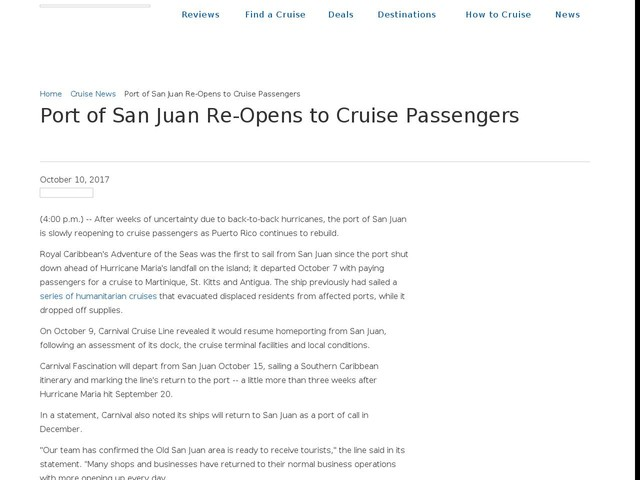 Port of San Juan Re-Opens to Cruise Passengers