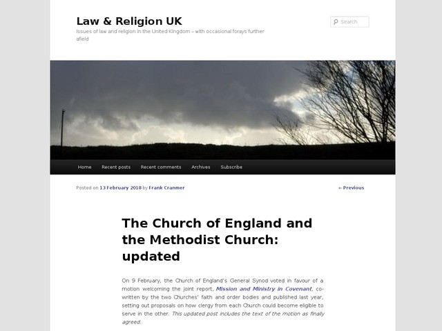 The Church of England and the Methodist Church: updated