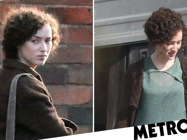 Phoebe Dynevor worlds away from Bridgerton with brunette curls as she films The Colour Room