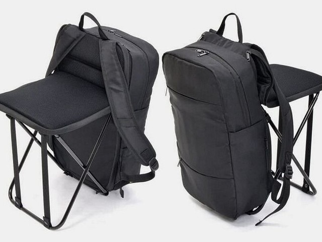Chair-Equipped Commuter Packs - The Thanko Anywhere Chair Backpack Helps Travelers Rest at Any Point (TrendHunter.com)