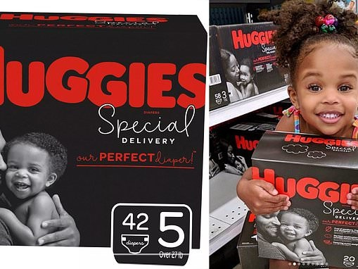 Huggies features black father and baby on new box