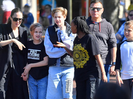 Shiloh Jolie-Pitt, 13, Rocks Favorite Versace Shorts On Family Outing With Mom Angelina Jolie & Siblings