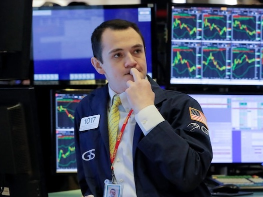 US stocks trade mostly lower as manufacturing data sparks growth concerns