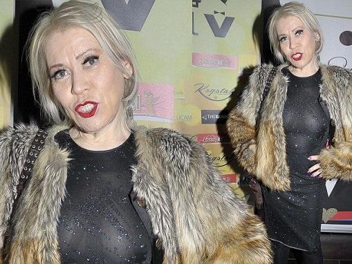 Tina Malone dons a glitzy semi-sheer dress at charity ball