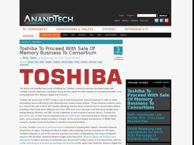 Toshiba To Proceed With Sale Of Memory Business To Consortium
