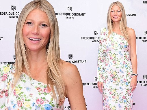 Gwyneth Paltrow wears a one-shouldered floral dress for watch launch