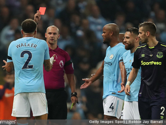 Super Soft: Flimsy Red Cards For Kyle Walker And Morgan Schneiderlin Tarnish Man City's 1-1 Draw With Everton (Photo & Video)