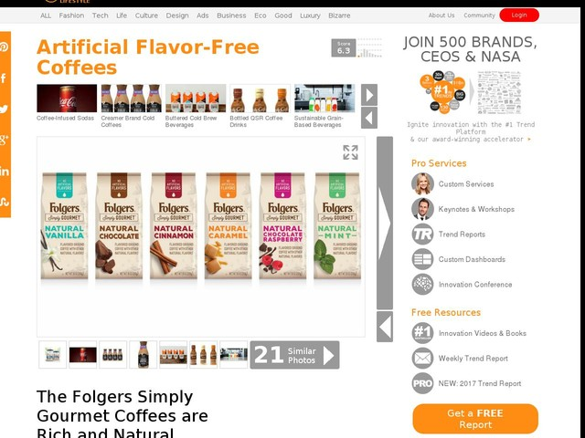 Artificial Flavor-Free Coffees - The Folgers Simply Gourmet Coffees are Rich and Natural (TrendHunter.com)