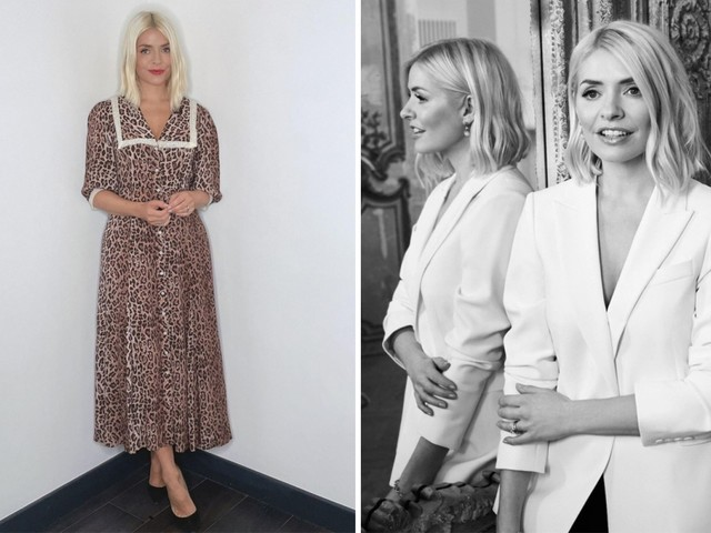 Holly Willoughby fans love her new look with brighter blonde hair with middle parting in leopardprint dress