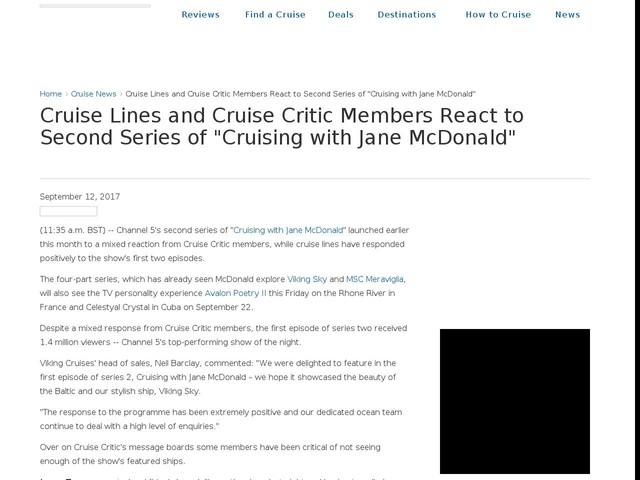 "Cruise Lines and Cruise Critic Members React to Second Series of ""Cruising with Jane McDonald"""