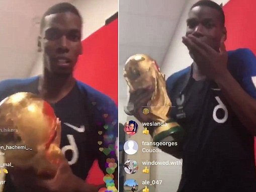 Paul Pogba trolls England by singing 'It's coming home' while holding World Cup trophy