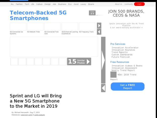 Telecom-Backed 5G Smartphones - Sprint and LG will Bring a New 5G Smartphone to the Market in 2019 (TrendHunter.com)