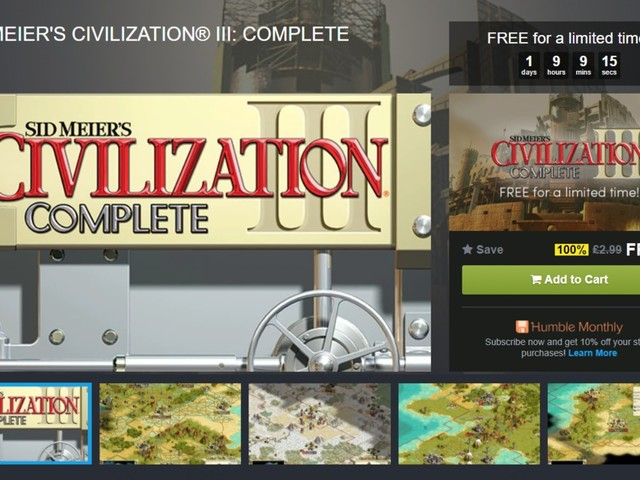Jelly Deals: Sid Meier's Civilization 3 free at Humble