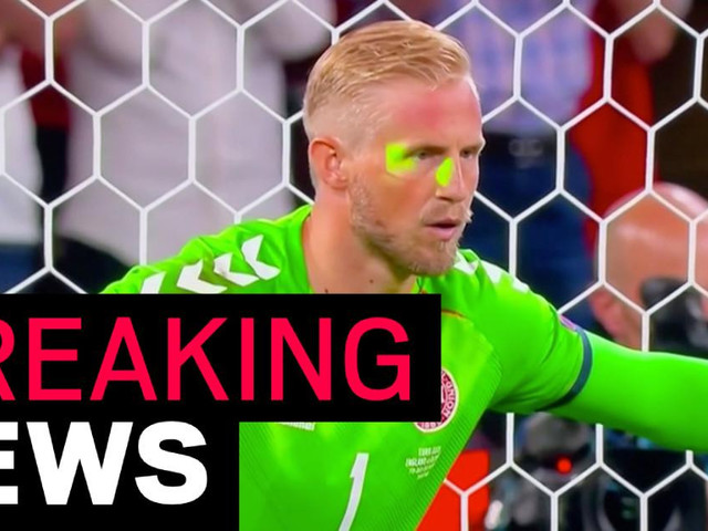 England charged by UEFA over fan directing laser pointer at Kasper Schmeichel and 'disturbance' during national anthem