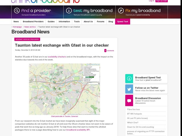 Taunton latest exchange with Gfast in our checker