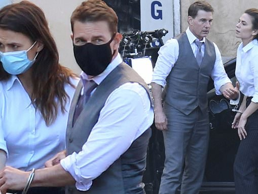 Tom Cruise and co-star Hayley Atwell wear face masks as they rehearse Mission Impossible 7 scenes