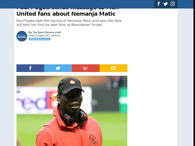 Paul Pogba sends message to Man United fans about Nemanja Matic