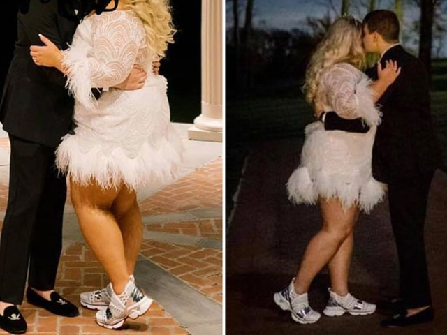 Bride wears £775 TRAINERS with her wedding dress and people fume the look is 'atrocious'