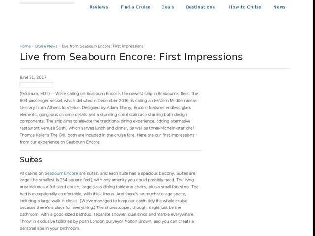 Live from Seabourn Encore: First Impressions