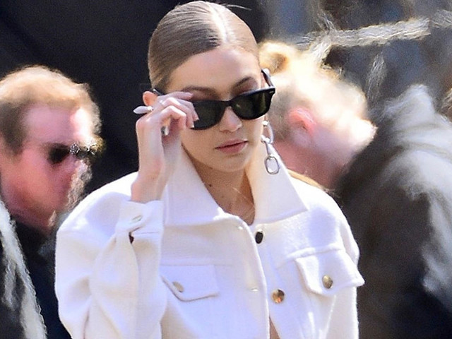 Gigi Hadid Braves Cold Temps To Shoot Commercial in NYC
