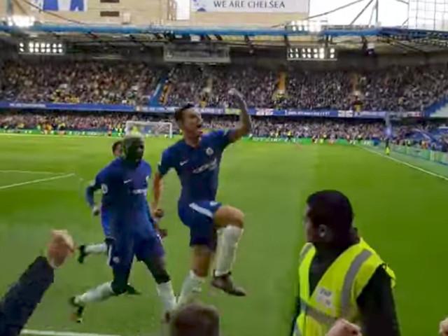 WATCH: César Azpilicueta's winning goal and celebrations from the Matthew Harding Lower