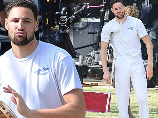 Klay Thompson films Space Jam 2 on crutches in Los Angeles and reveals accepting $190 million deal