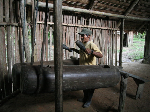 Amazonian Bora people mimic the rhythm of their language for communication over large distances using drums