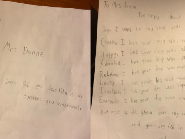 Schoolboy Sends Touching Letter To Teacher After Her Dog Was Put To Sleep