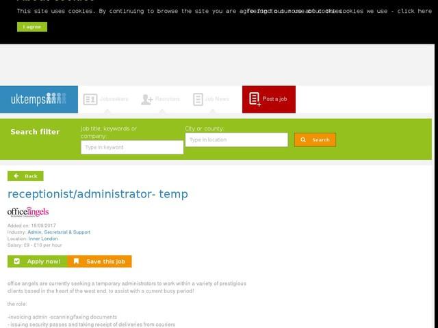 receptionist/administrator- temp