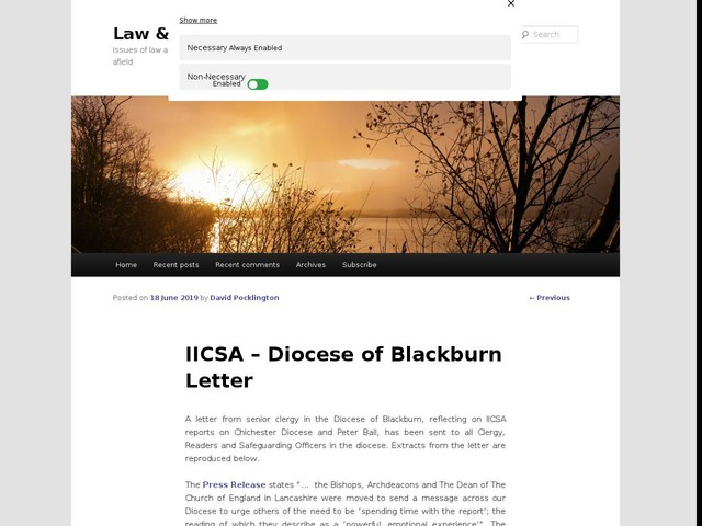 IICSA – Diocese of Blackburn Letter