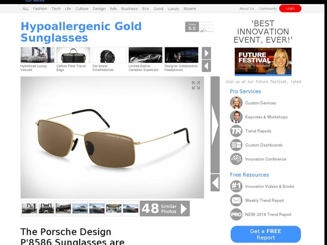 Hypoallergenic Gold Sunglasses - The Porsche Design P'8586 Sunglasses are Handcrafted in Japan (TrendHunter.com)