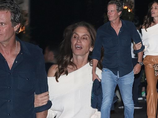 Cindy Crawford looks effortlessly stylish as she steps out with Rande Gerber after a party in Malibu
