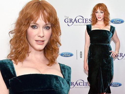 Christina Hendricks is a bombshell in blue as she attends star-studded Gracie Awards red carpet
