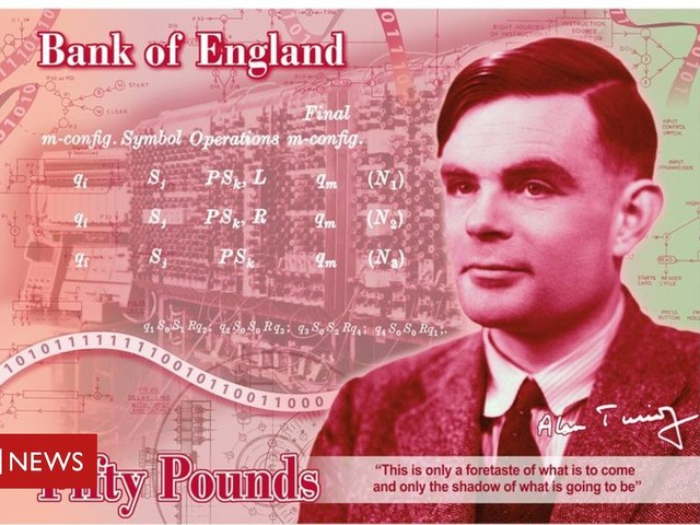AI pioneer Turing is the face of the new £50 note